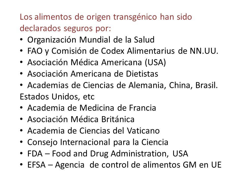 Los alimentos de origen transgénico han sido declarados seguros por: