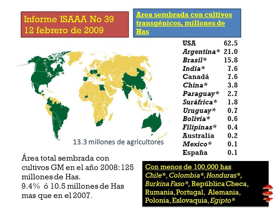 Informe ISAAA No 39 12 febrero de 2009 13.3 millones de agricultores