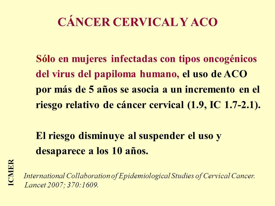 CÁNCER CERVICAL Y ACO del virus del papiloma humano, el uso de ACO