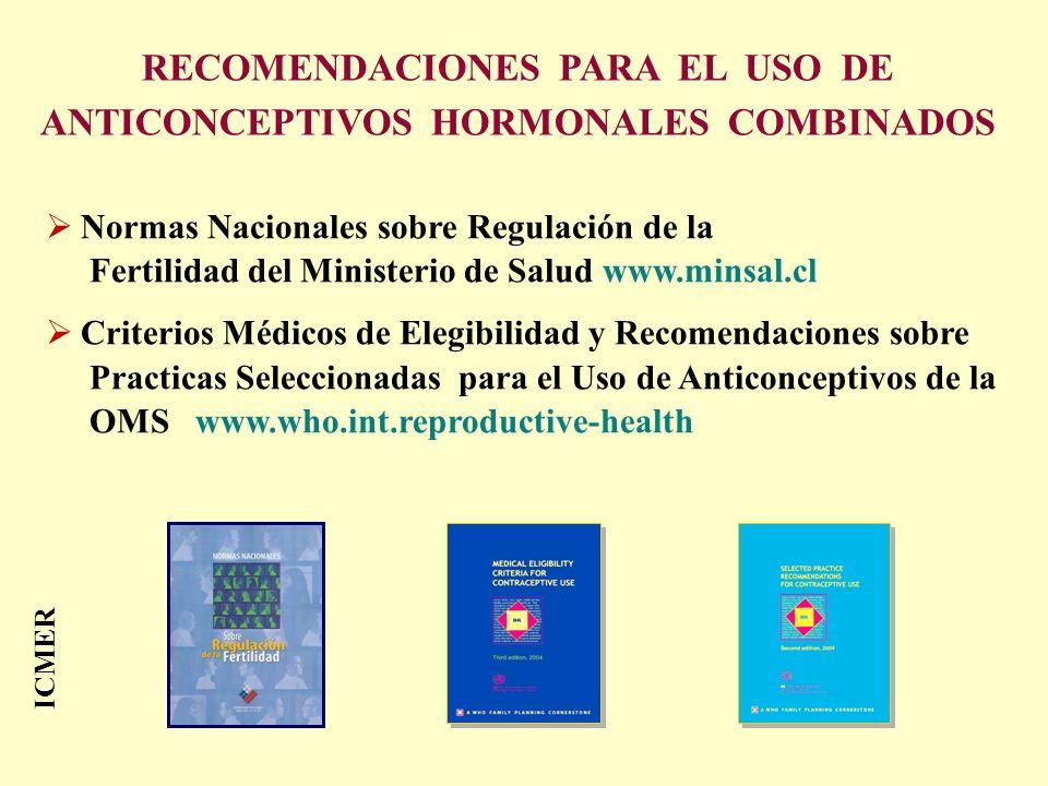RECOMENDACIONES PARA EL USO DE ANTICONCEPTIVOS HORMONALES COMBINADOS