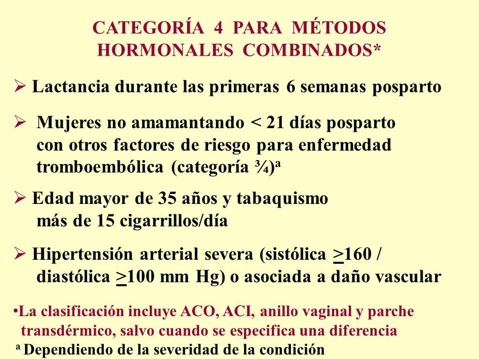 CATEGORÍA 4 PARA MÉTODOS HORMONALES COMBINADOS*