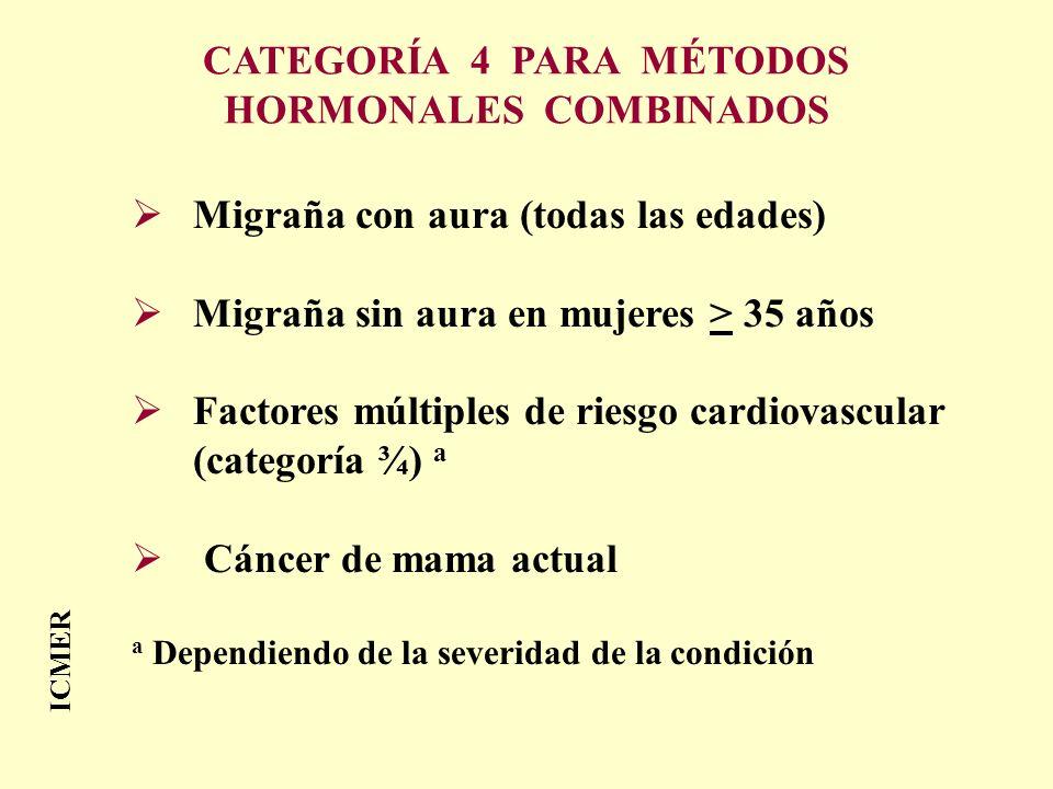 CATEGORÍA 4 PARA MÉTODOS HORMONALES COMBINADOS