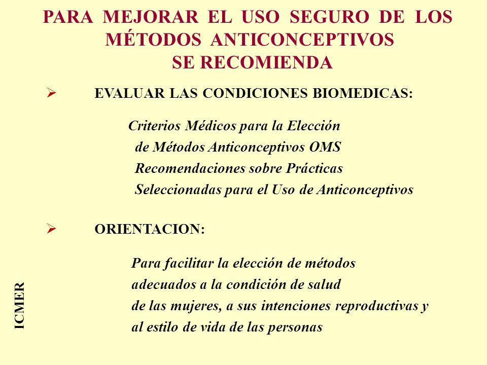 PARA MEJORAR EL USO SEGURO DE LOS MÉTODOS ANTICONCEPTIVOS