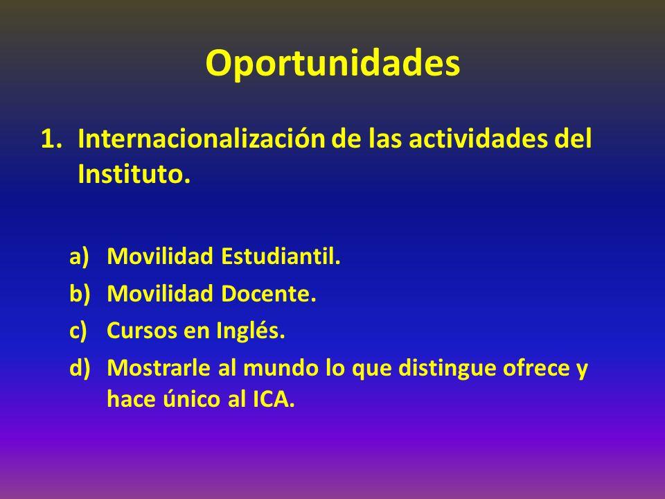 Oportunidades Internacionalización de las actividades del Instituto.