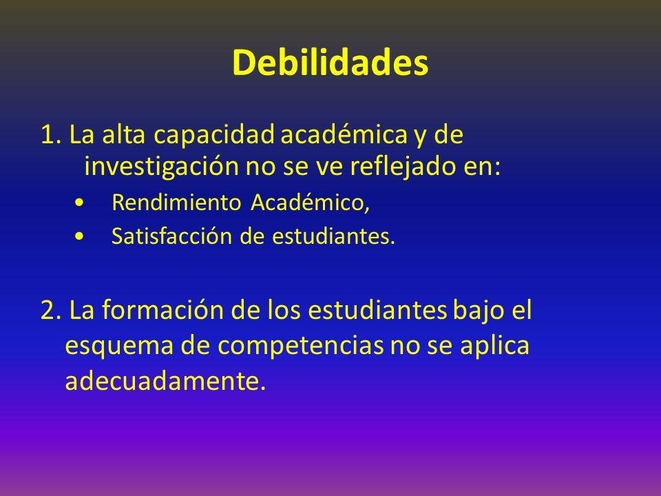 Debilidades 1. La alta capacidad académica y de investigación no se ve reflejado en: Rendimiento Académico,