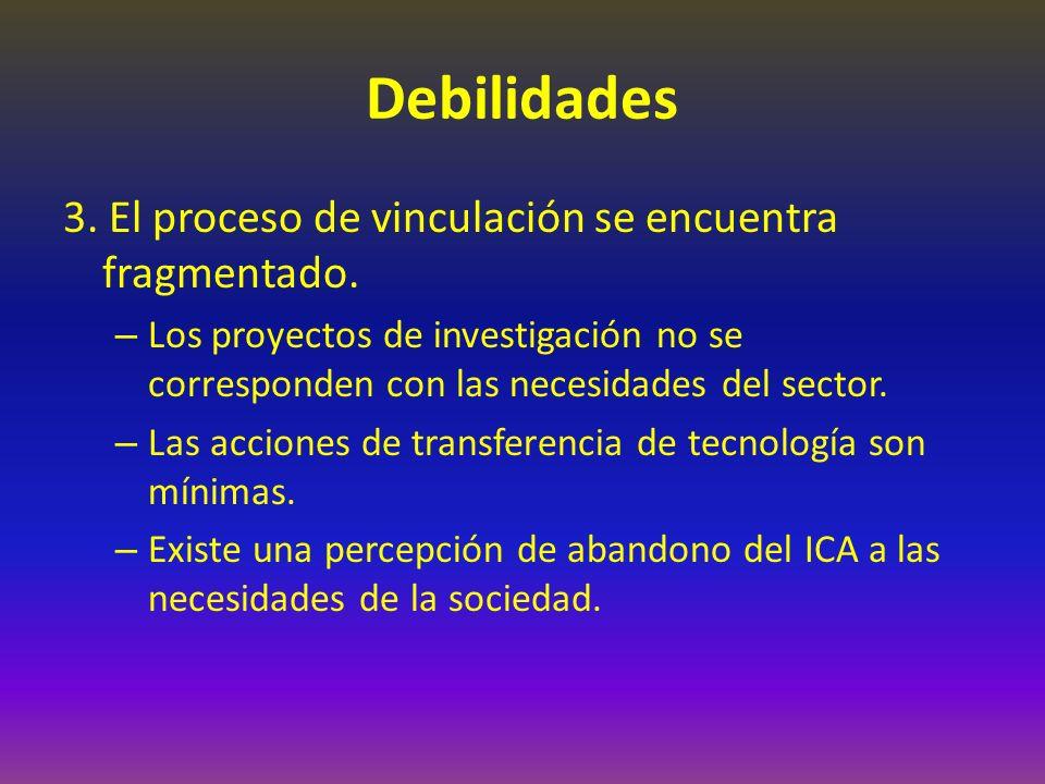 Debilidades 3. El proceso de vinculación se encuentra fragmentado.