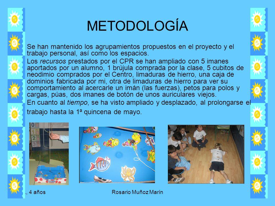 METODOLOGÍA Se han mantenido los agrupamientos propuestos en el proyecto y el trabajo personal, así como los espacios.
