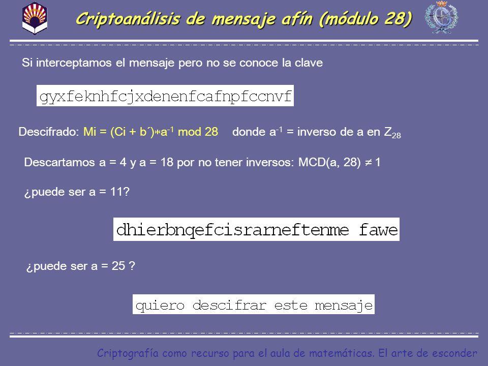 Criptoanálisis de mensaje afín (módulo 28)