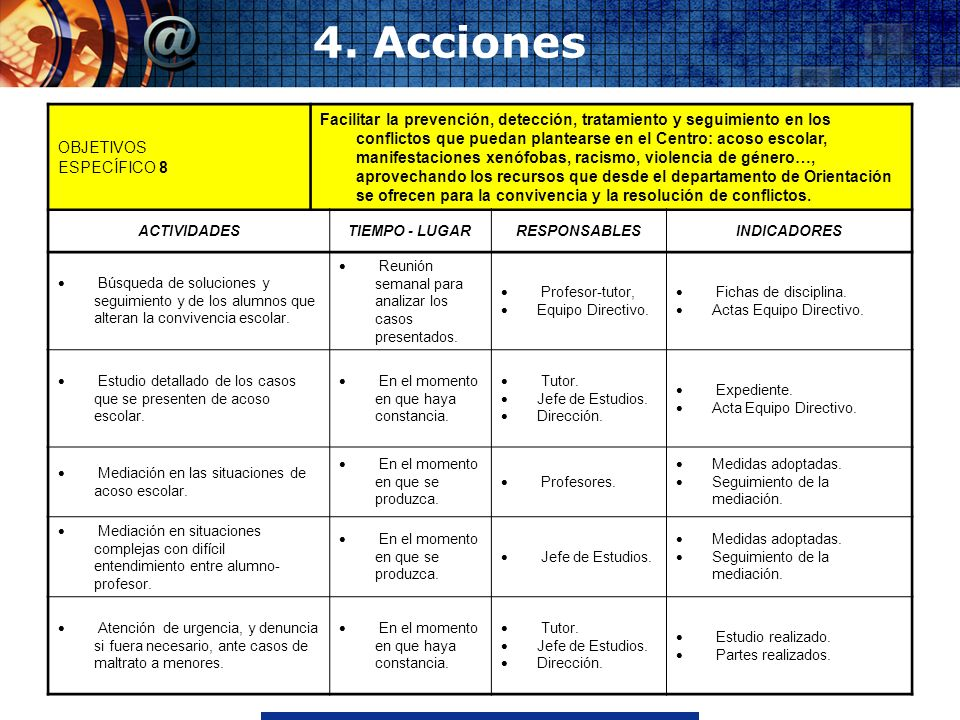 4. Acciones OBJETIVOS ESPECÍFICO 8