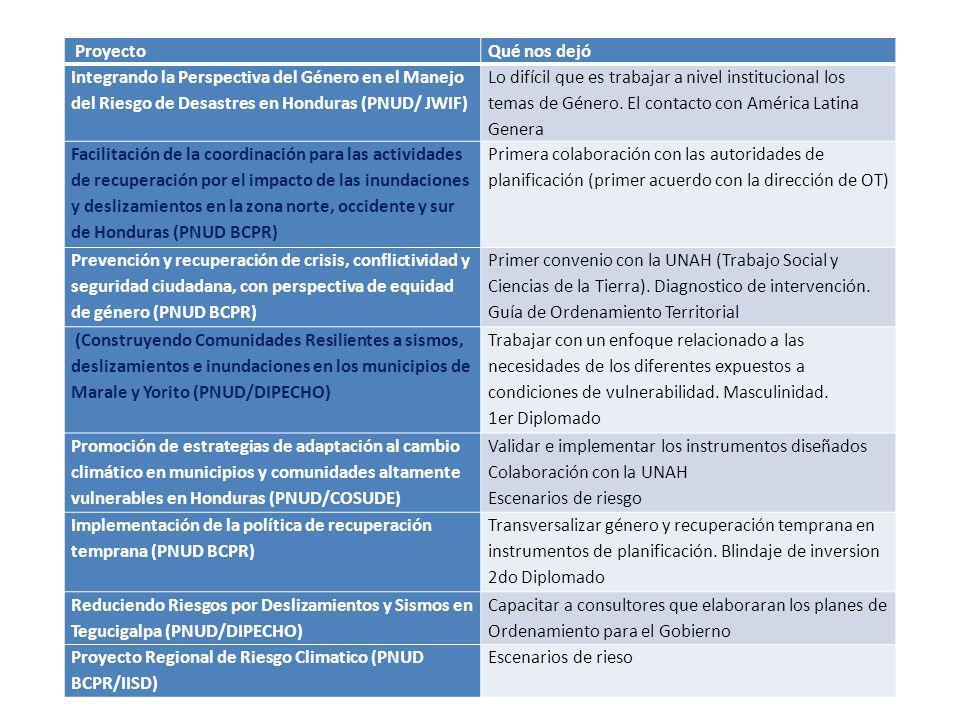 Proyecto Qué nos dejó. Integrando la Perspectiva del Género en el Manejo del Riesgo de Desastres en Honduras (PNUD/ JWIF)