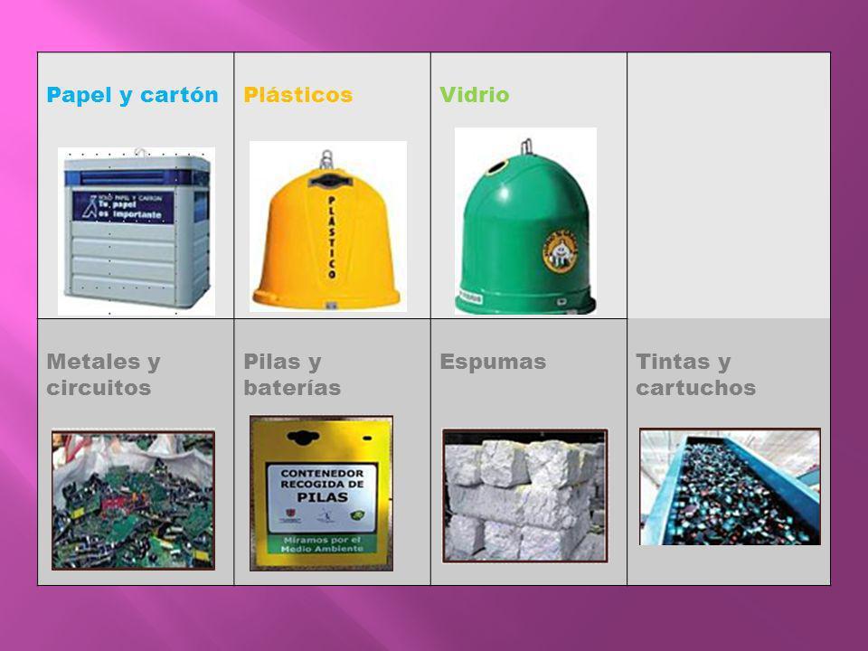 Papel y cartón Plásticos Vidrio Metales y circuitos Pilas y baterías Espumas Tintas y cartuchos