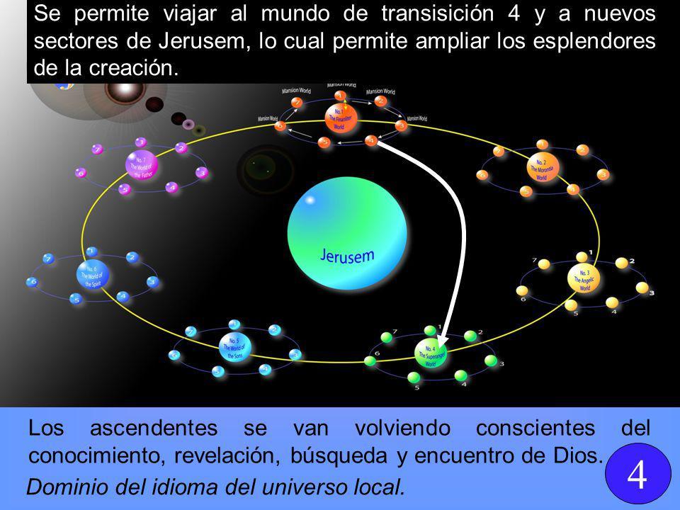 Se permite viajar al mundo de transisición 4 y a nuevos sectores de Jerusem, lo cual permite ampliar los esplendores de la creación.