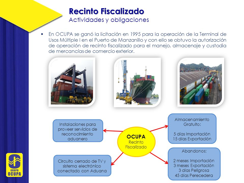 Recinto Fiscalizado Actividades y obligaciones OCUPA