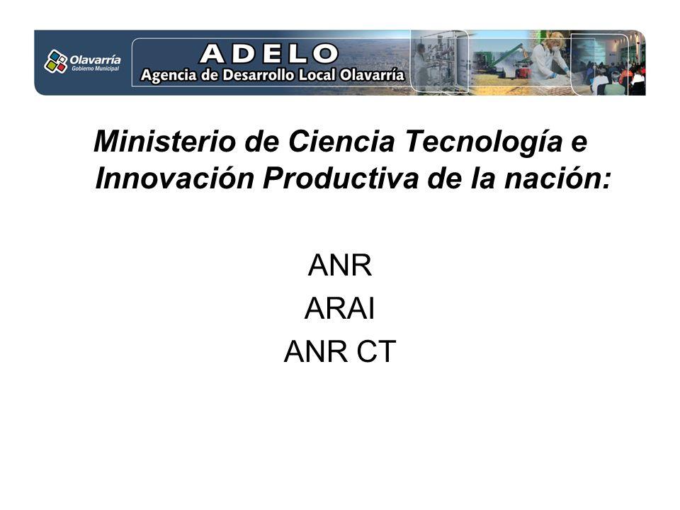 Ministerio de Ciencia Tecnología e Innovación Productiva de la nación: