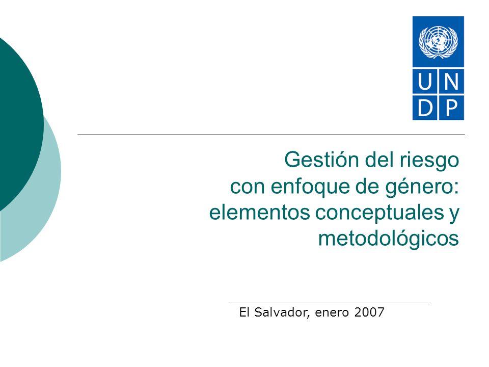 Gestión del riesgo con enfoque de género: elementos conceptuales y metodológicos