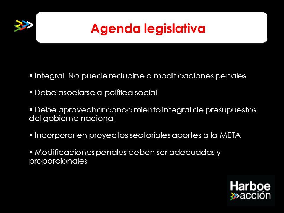 Agenda legislativa Integral. No puede reducirse a modificaciones penales. Debe asociarse a política social.