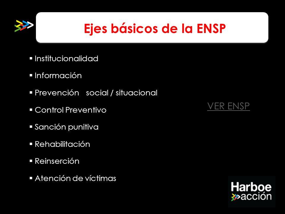 Ejes básicos de la ENSP VER ENSP Institucionalidad Información