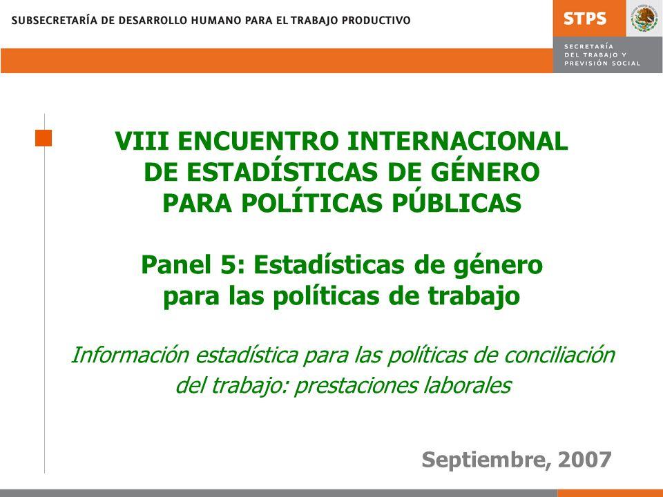VIII ENCUENTRO INTERNACIONAL DE ESTADÍSTICAS DE GÉNERO PARA POLÍTICAS PÚBLICAS Panel 5: Estadísticas de género para las políticas de trabajo Información estadística para las políticas de conciliación del trabajo: prestaciones laborales