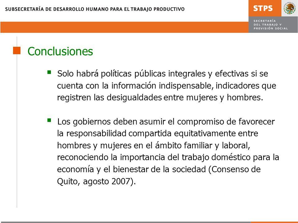 Conclusiones Solo habrá políticas públicas integrales y efectivas si se. cuenta con la información indispensable, indicadores que.