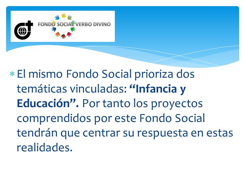 El mismo Fondo Social prioriza dos temáticas vinculadas: Infancia y Educación .