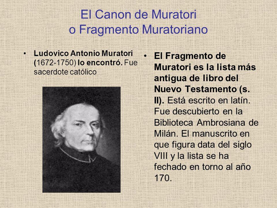 El Canon de Muratori o Fragmento Muratoriano