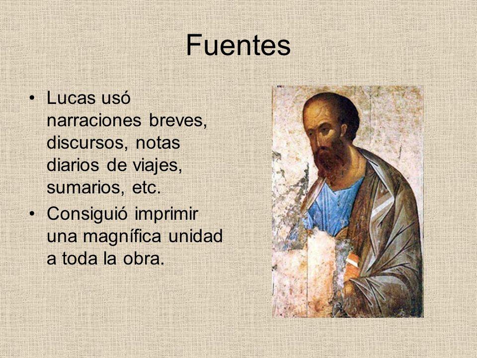 Fuentes Lucas usó narraciones breves, discursos, notas diarios de viajes, sumarios, etc.