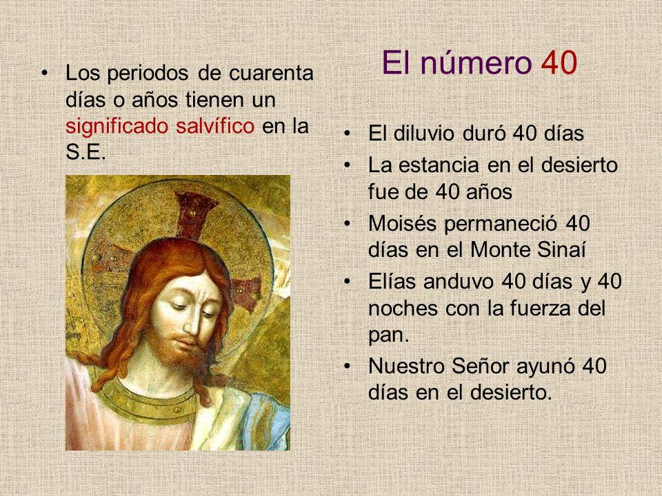 El número 40 Los periodos de cuarenta días o años tienen un significado salvífico en la S.E. El diluvio duró 40 días.