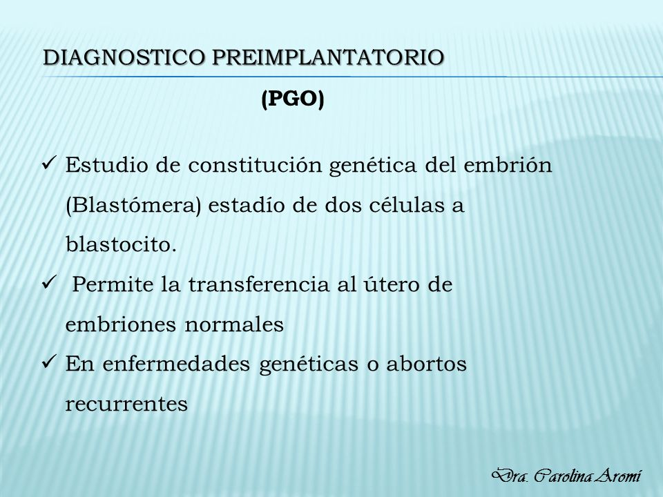 Diagnostico preimplantatorio