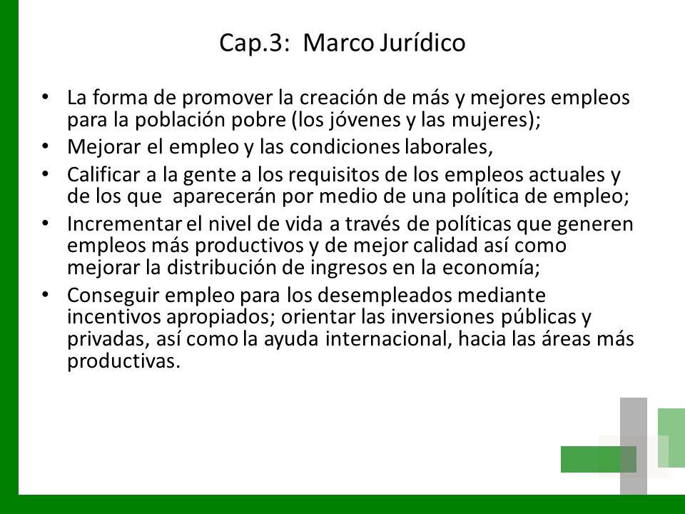 Cap.3: Marco Jurídico La forma de promover la creación de más y mejores empleos para la población pobre (los jóvenes y las mujeres);