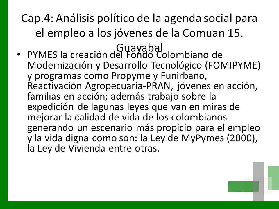 Cap.4: Análisis político de la agenda social para el empleo a los jóvenes de la Comuan 15. Guayabal