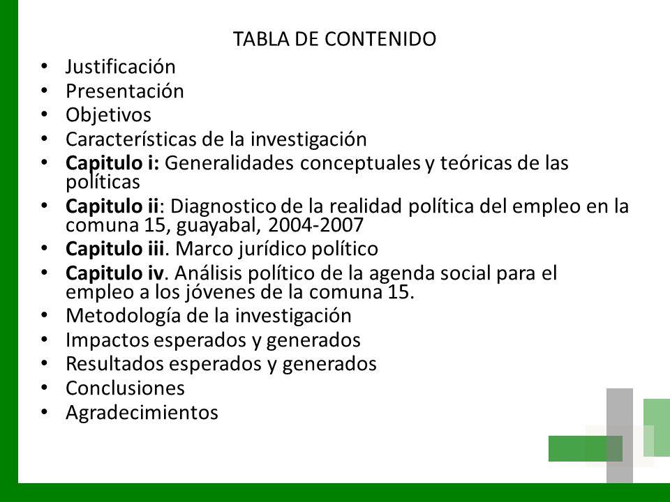 TABLA DE CONTENIDO Justificación. Presentación. Objetivos. Características de la investigación.