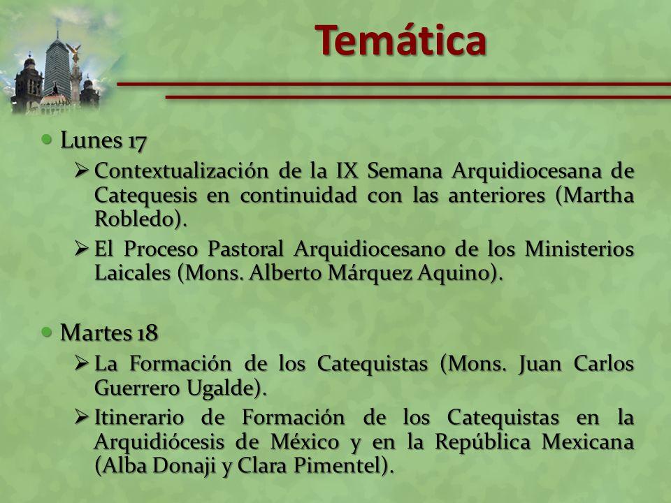 Temática Lunes 17. Contextualización de la IX Semana Arquidiocesana de Catequesis en continuidad con las anteriores (Martha Robledo).