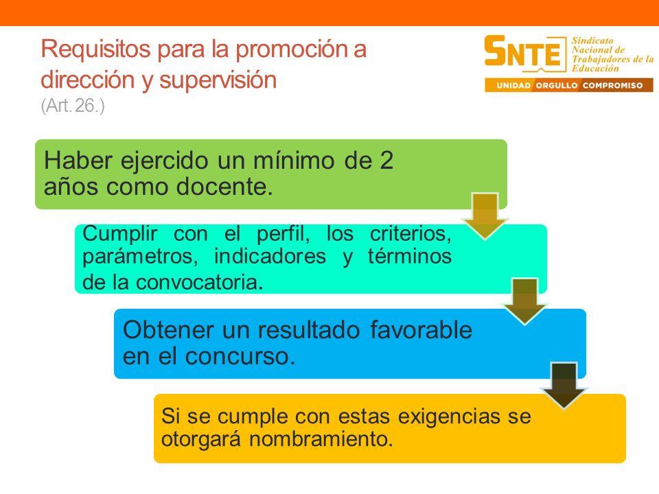 Requisitos para la promoción a dirección y supervisión (Art. 26.)
