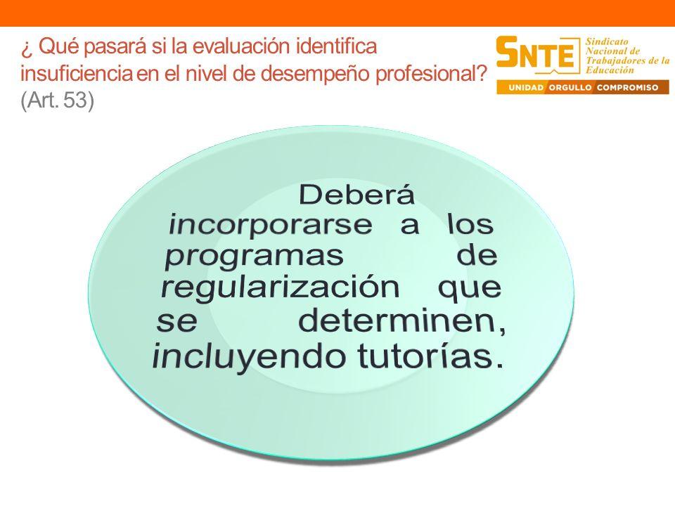 ¿ Qué pasará si la evaluación identifica insuficiencia en el nivel de desempeño profesional (Art. 53)