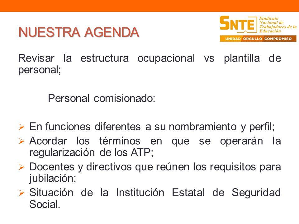 NUESTRA AGENDARevisar la estructura ocupacional vs plantilla de personal; Personal comisionado: En funciones diferentes a su nombramiento y perfil;