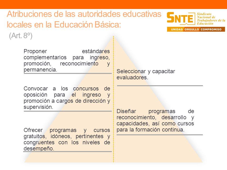 Atribuciones de las autoridades educativas locales en la Educación Básica: (Art. 8º)