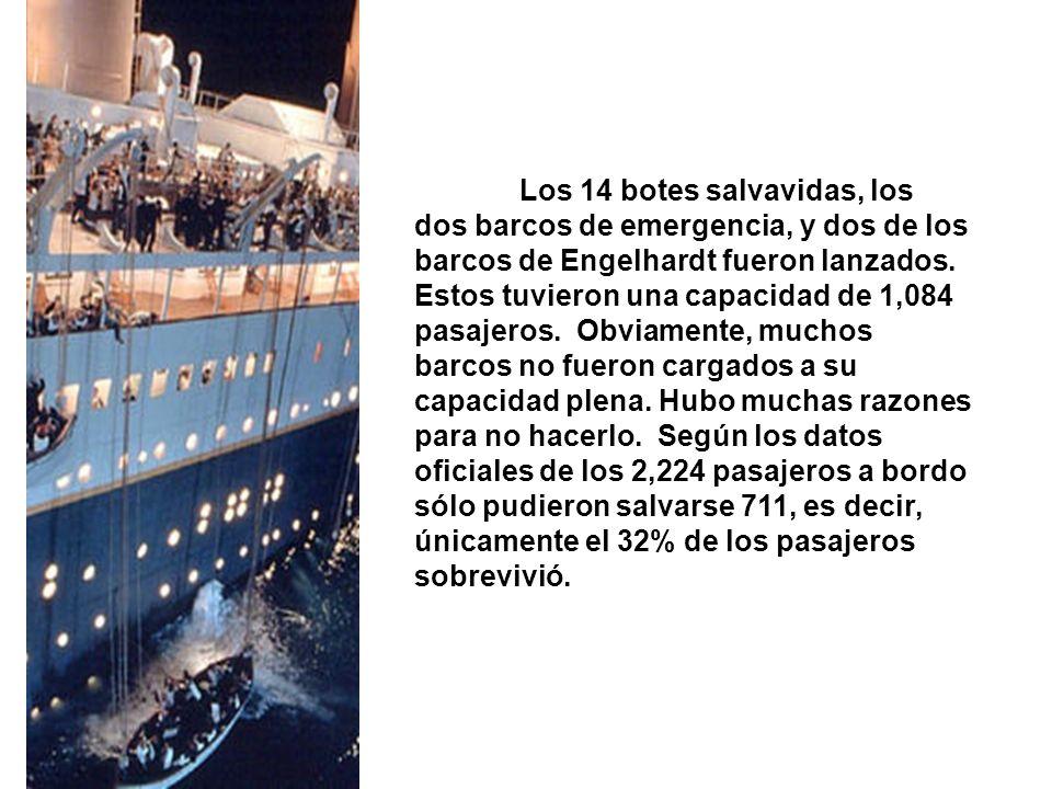 Los 14 botes salvavidas, los dos barcos de emergencia, y dos de los barcos de Engelhardt fueron lanzados.