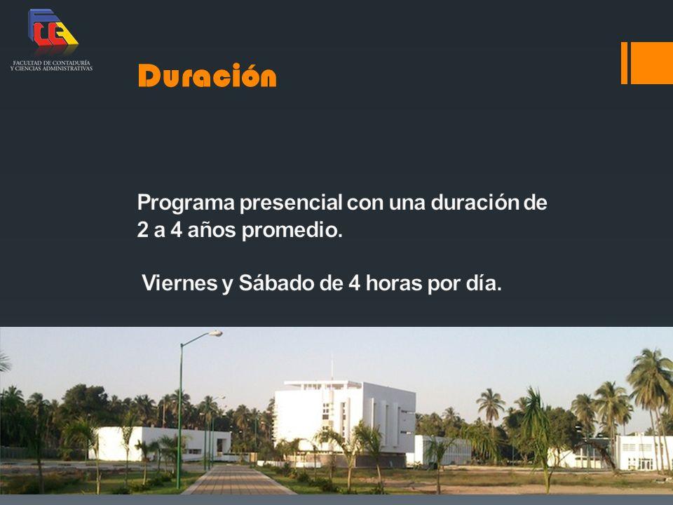 Duración Programa presencial con una duración de 2 a 4 años promedio.