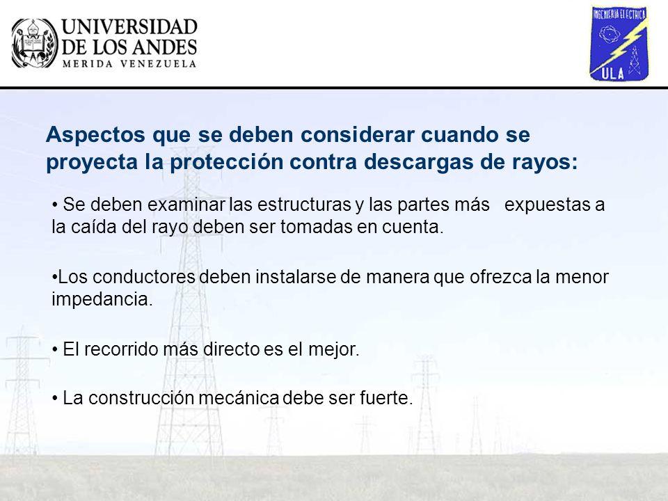 Aspectos que se deben considerar cuando se proyecta la protección contra descargas de rayos: