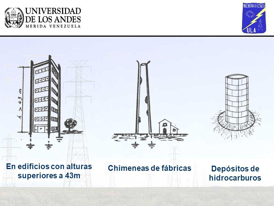 En edificios con alturas superiores a 43m Depósitos de hidrocarburos