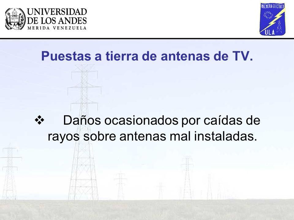 Puestas a tierra de antenas de TV.