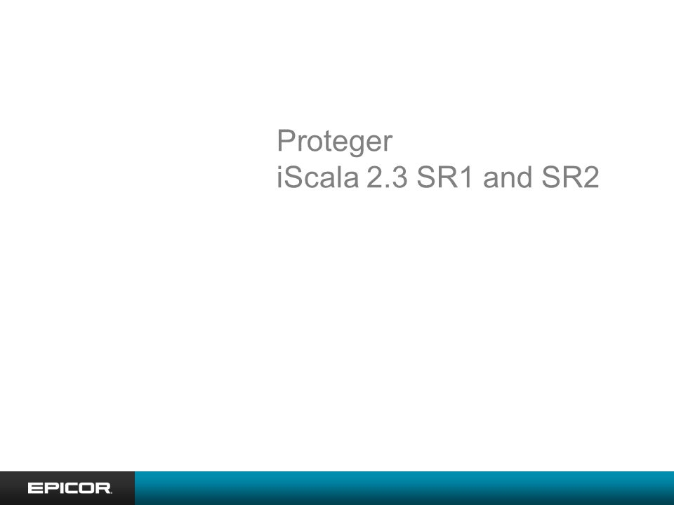 Proteger iScala 2.3 SR1 and SR2