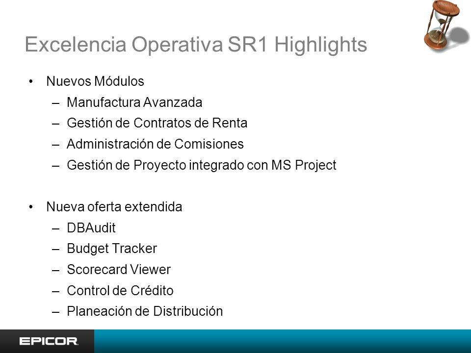 Excelencia Operativa SR1 Highlights