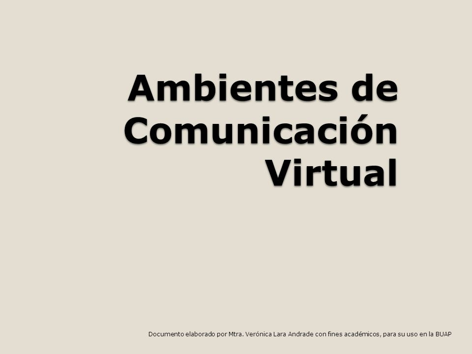 Ambientes de Comunicación Virtual