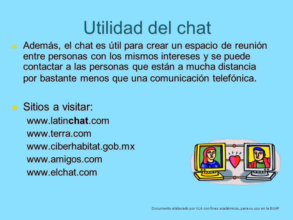 Utilidad del chat Sitios a visitar: