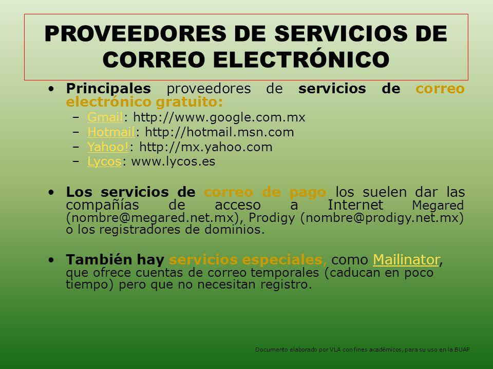 PROVEEDORES DE SERVICIOS DE CORREO ELECTRÓNICO