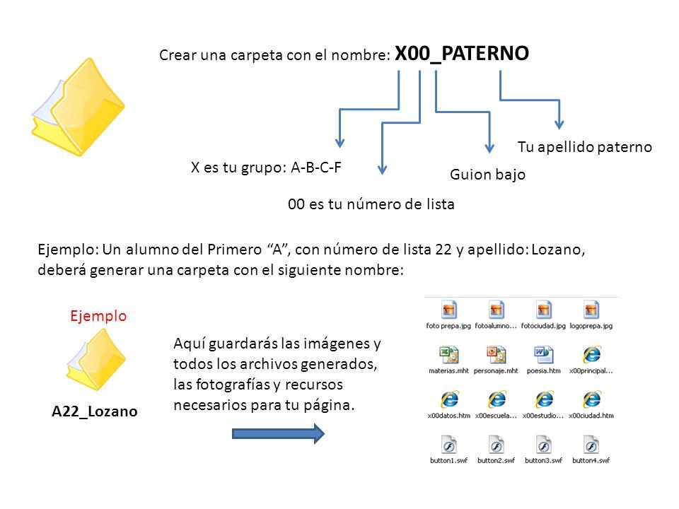 Crear una carpeta con el nombre: X00_PATERNO