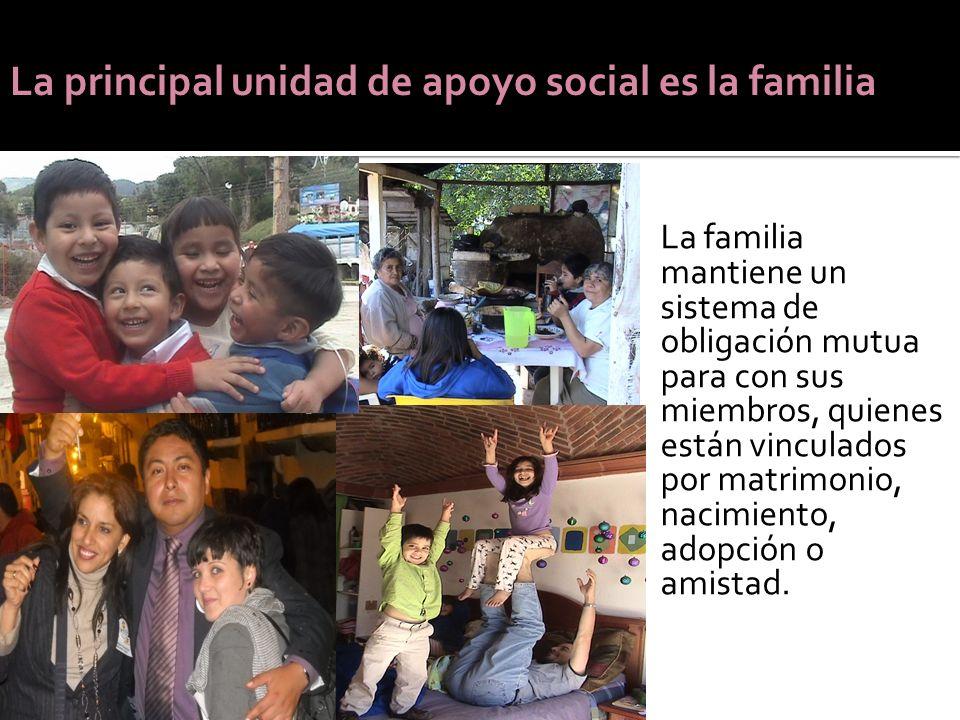 La principal unidad de apoyo social es la familia