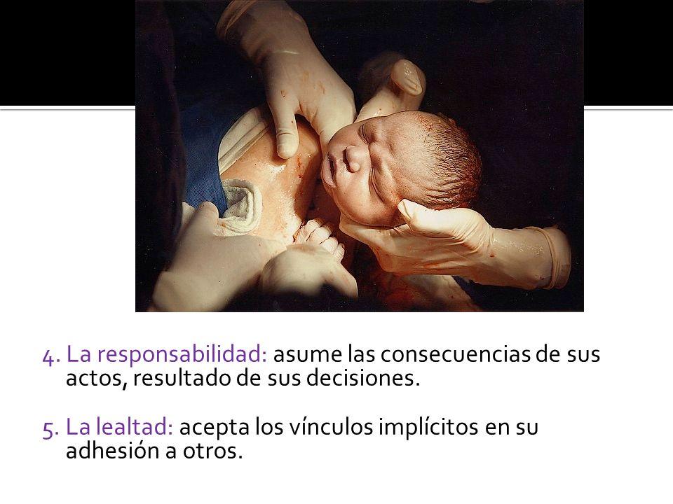 4. La responsabilidad: asume las consecuencias de sus actos, resultado de sus decisiones.