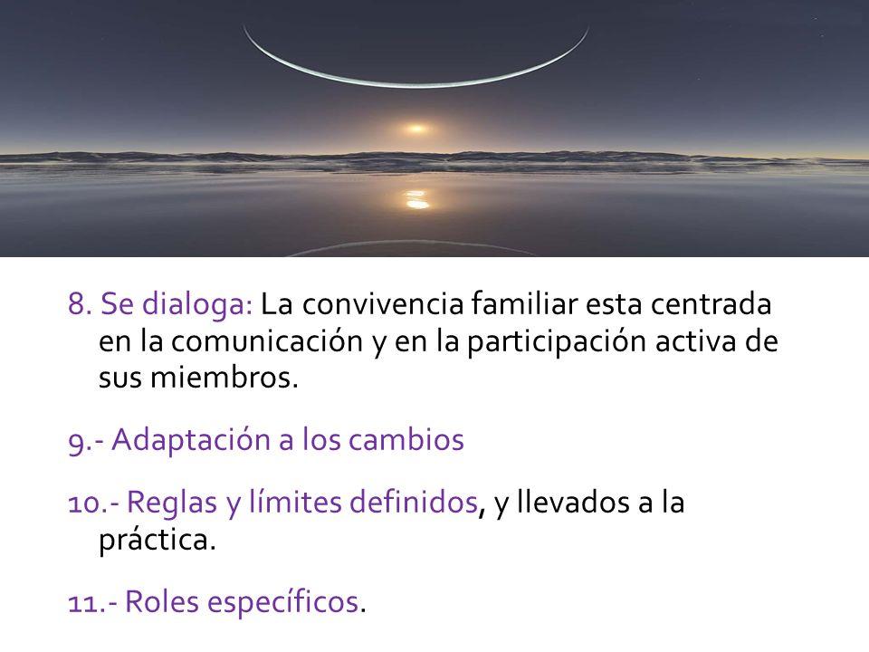 8. Se dialoga: La convivencia familiar esta centrada en la comunicación y en la participación activa de sus miembros.